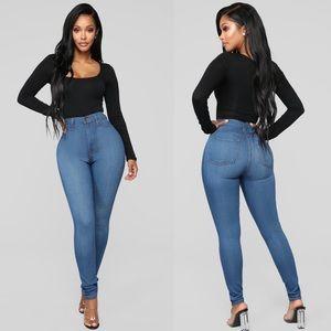 Fashion Nova High Waist Skinny Jeans Medium Wash